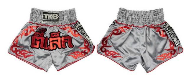 Top King Muay Thai Shorts Grey & Red