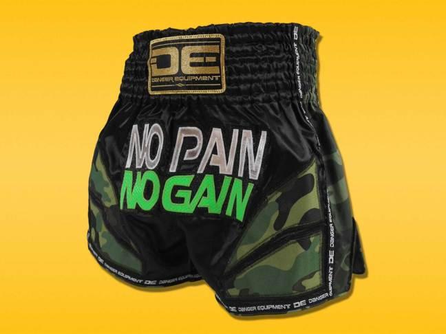 Danger Equipment No Pain No Gain Camo Muay Thai Shorts
