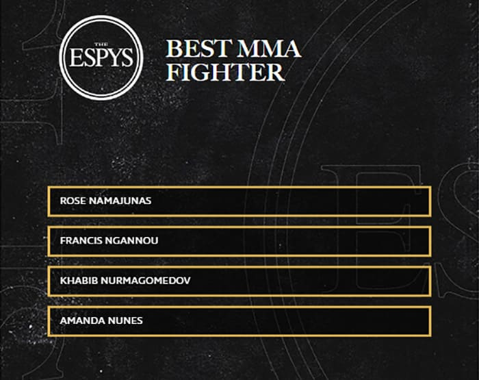 """The contenders of the ESPN Espy Awards 2021 Sports Award in the category """"Best Fighter of the Year""""."""