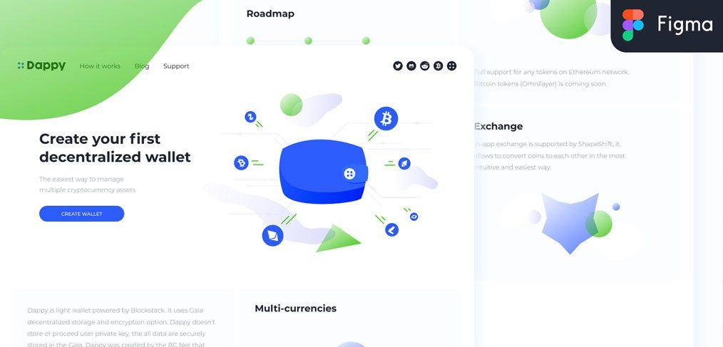 Cryptocurrency wallet website template