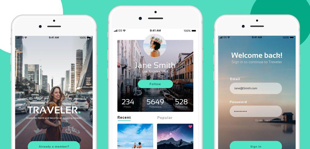 Free traveler app concept