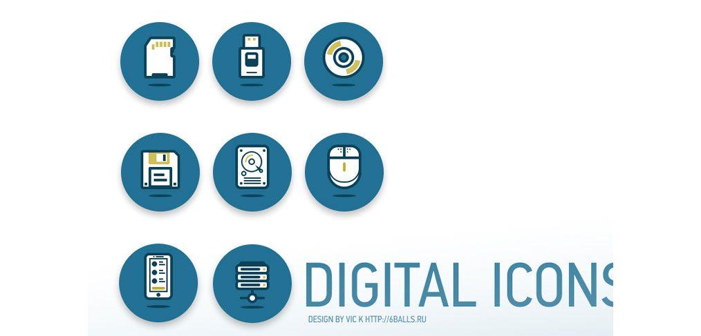 Digital Data Mini Icon Set