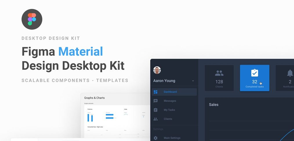 Material dashboard templates for Figma