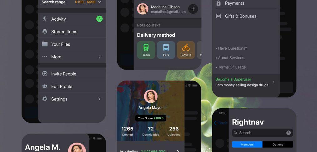Side navigation iOS bar for Figma