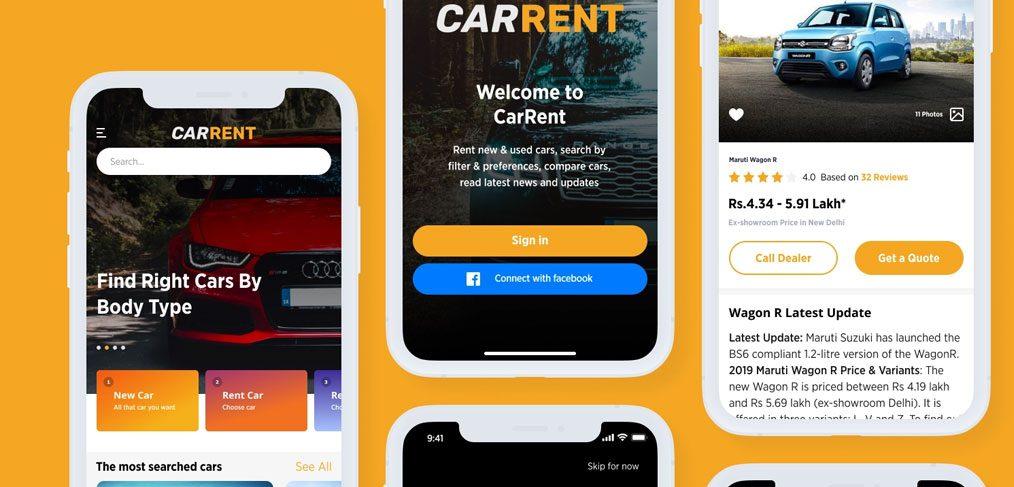 Car rental app template for Figma