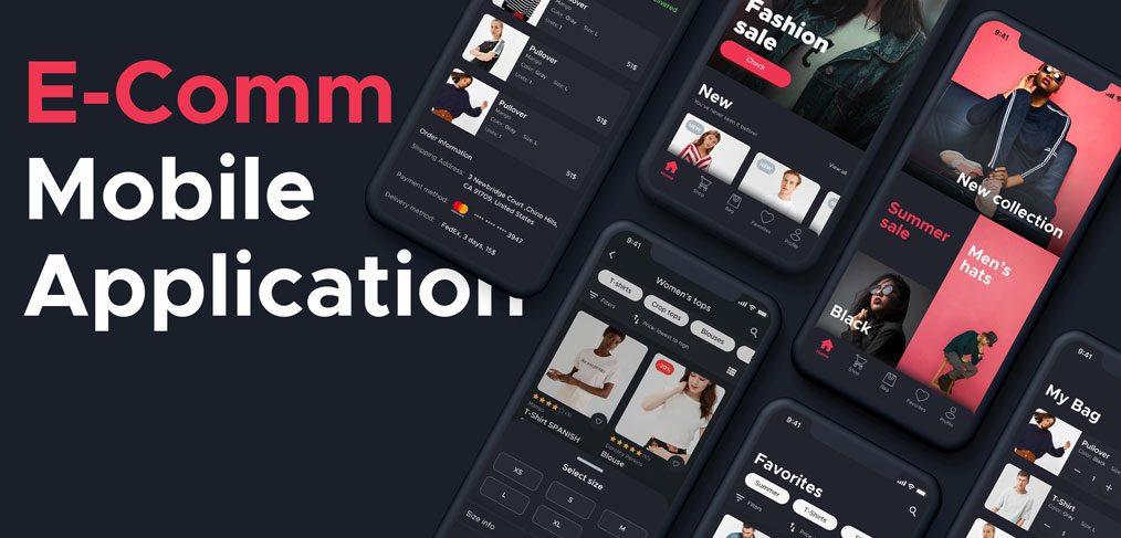 Dark ecommerce Figma app template