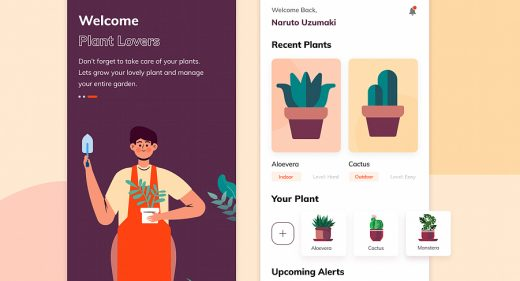 Plant lovers app template for Figma