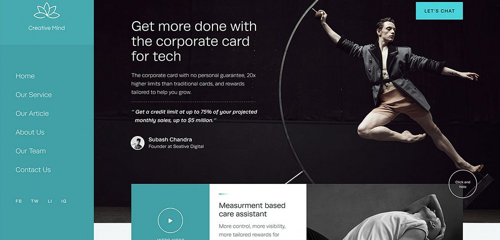 Creative Mind homepage concept