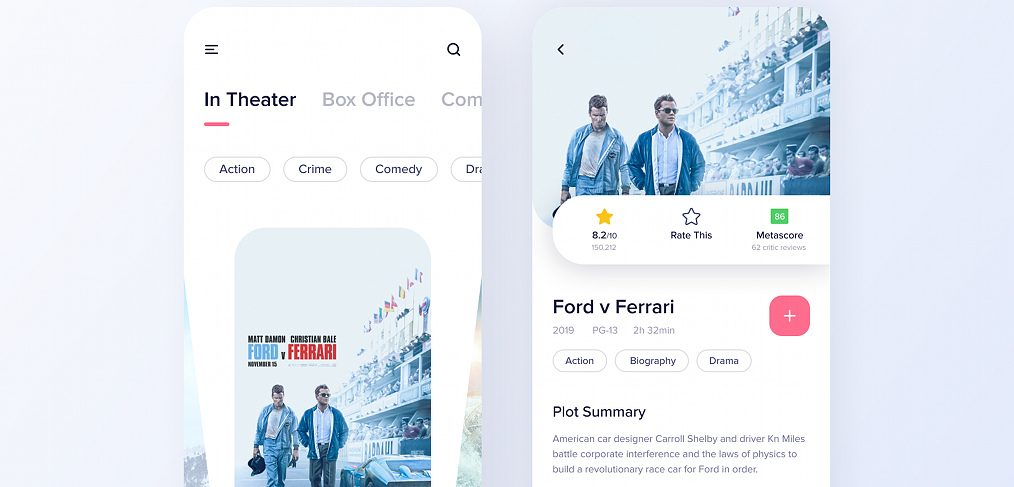 Free movie app Figma concept