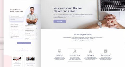 Dreammaker free Figma landing page