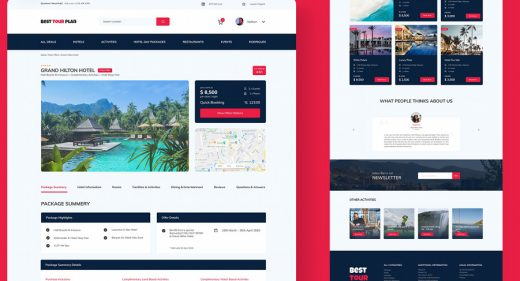 Hotel booking website template for Figma