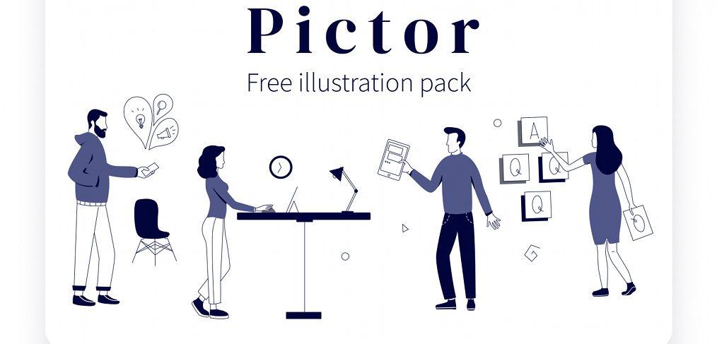 Pictor - Free Figma illustration pack