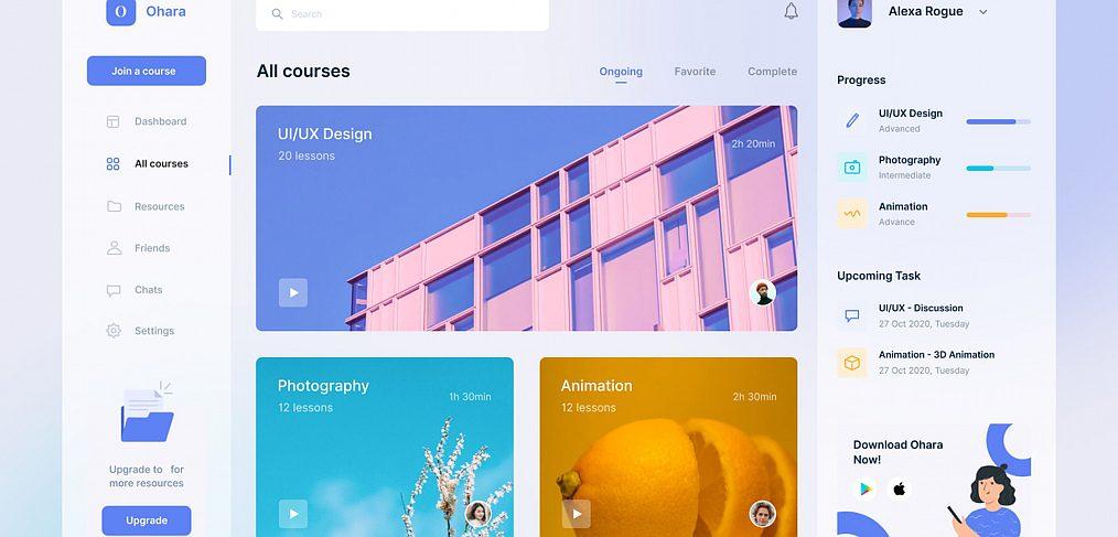 Ecourse free Figma dashboard template