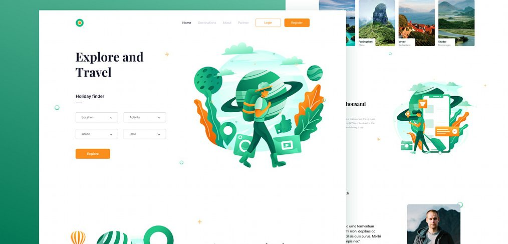 Free Figma website travel template