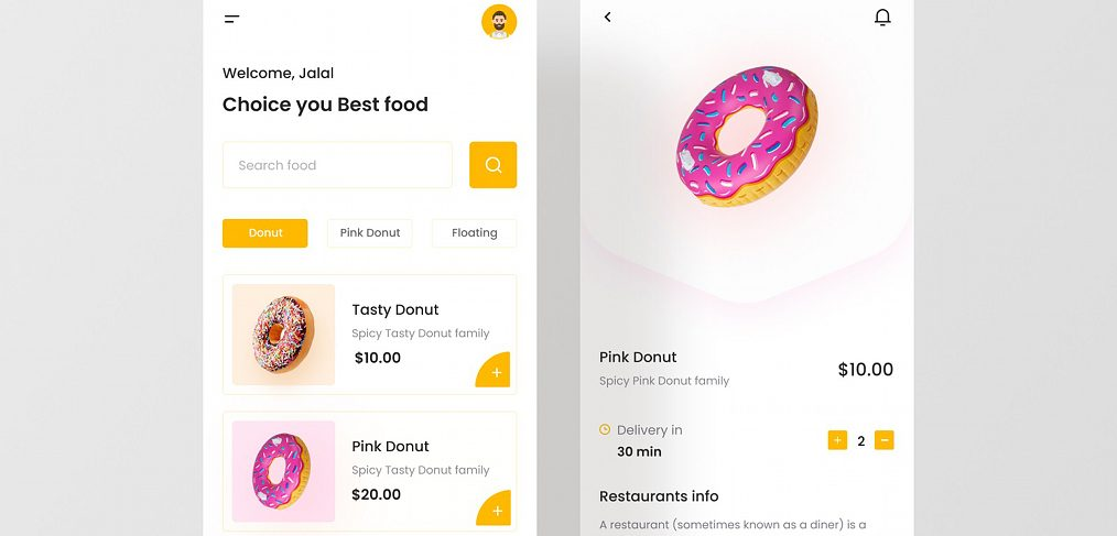 Donuts delivery app Figma concept