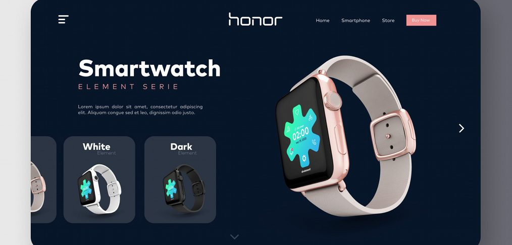 Smartwatch Figma website concept