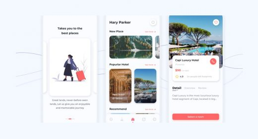 Travel booking app template for Figma