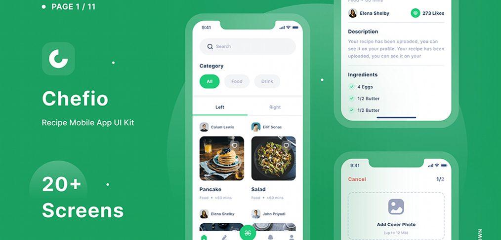Chefio - Figma recipe app UI Kit