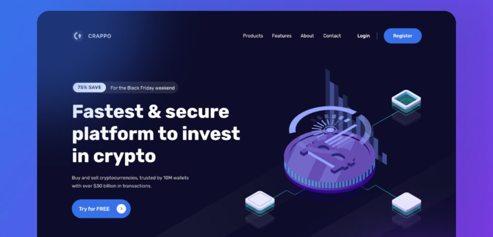 Crypto landing template for Figma