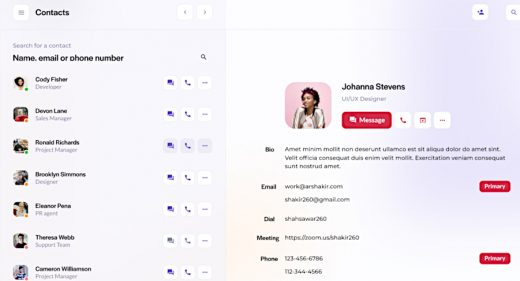 Figma contact manager dashboard
