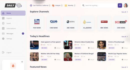 Figma news dashboard template