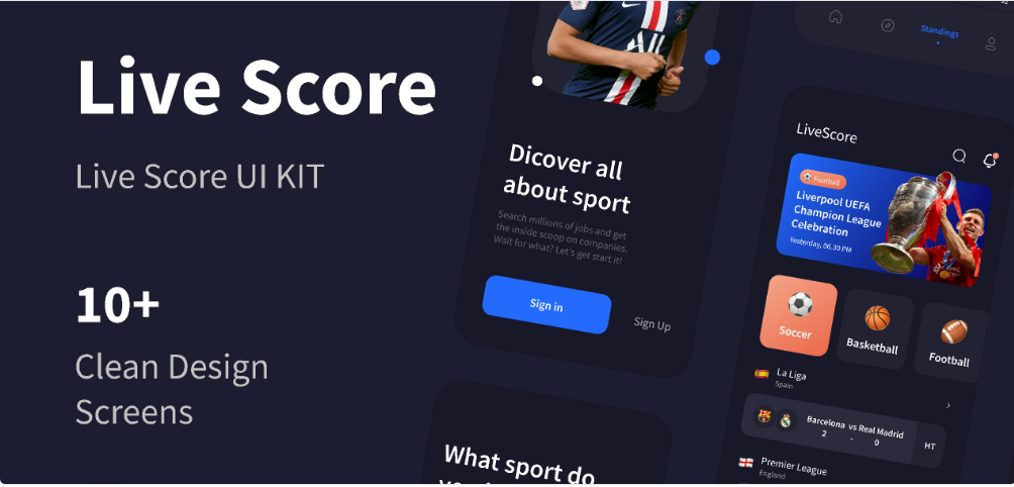 Sports live score free Figma UI kit
