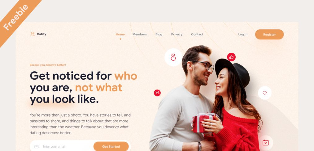 Figma dating site landing template