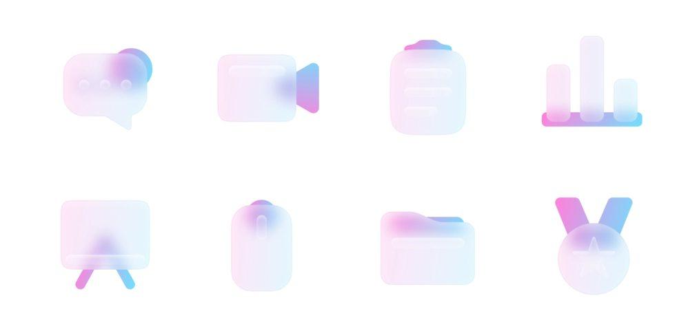 100 free glass Figma icons