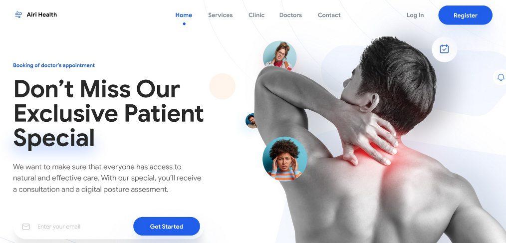 Clinic website Figma template