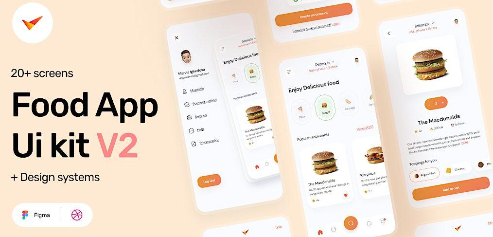 Figma food app free UI kit