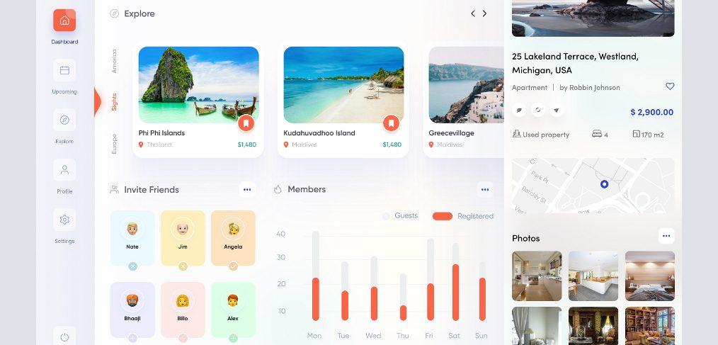 Figma travel dashboard concept