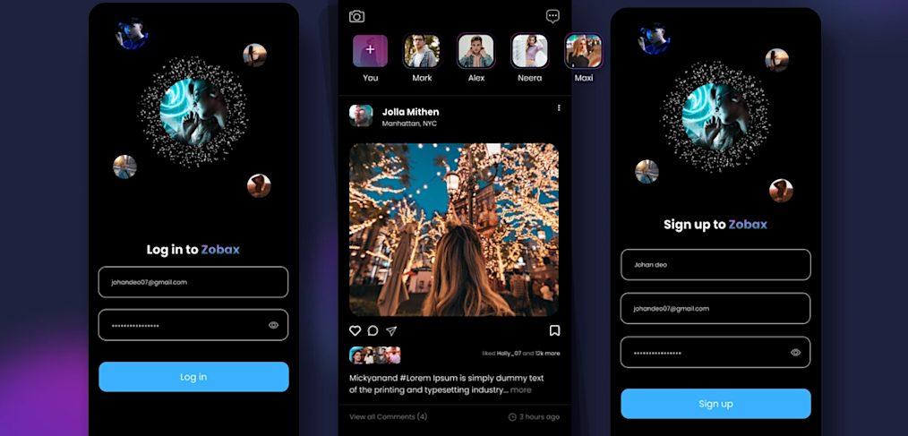 Figma dark mode social media app