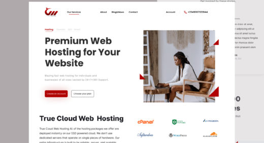 Hosting landing page Figma template