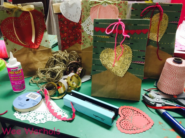 Valentine gift bags, treat bags, Valentine's Crafts, Wee Warhols, Austin TX, gift bags