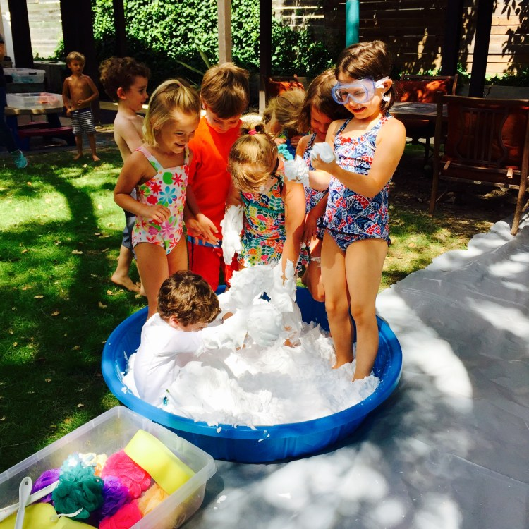 water day, shaving cream splash, Wee Warhols, Austin TX