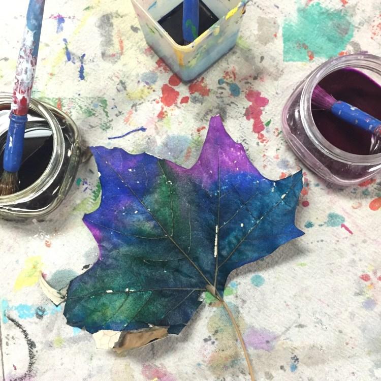 painted leaf, Wee Warhols, art class, Austin TX