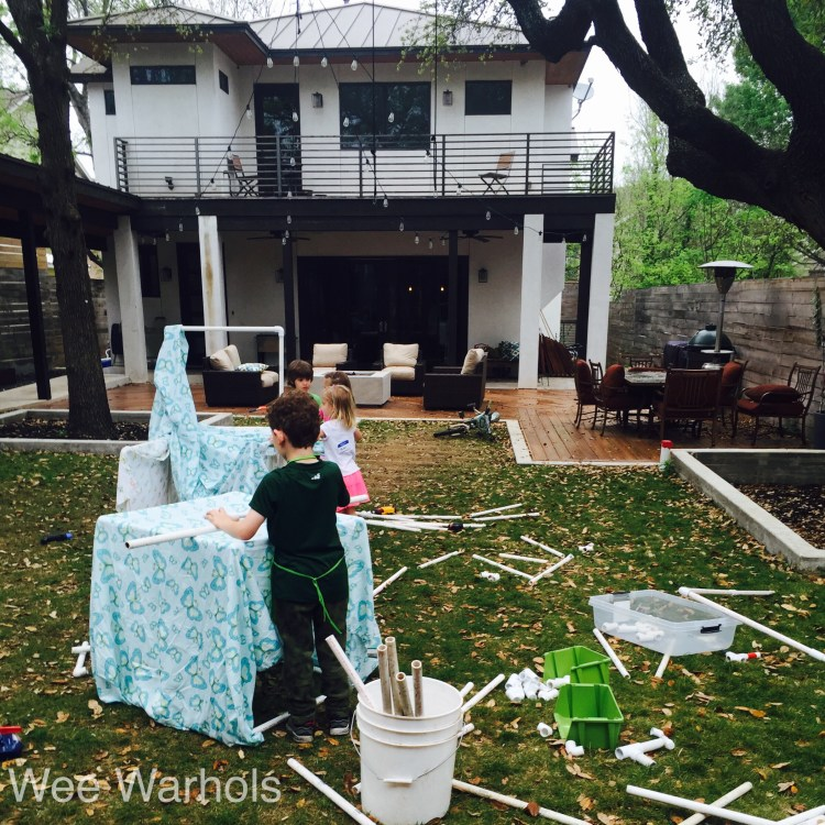 PVC fort, PVC pipe, building, construction, engineering, early childhood education, Wee Warhols, Austin