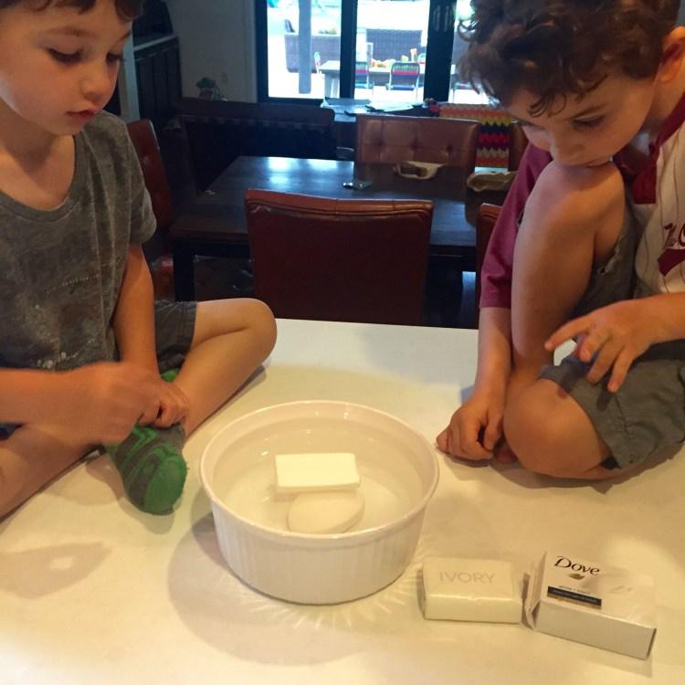 Soap experiment, Wee Warhols, Austin, STEM, STEAM