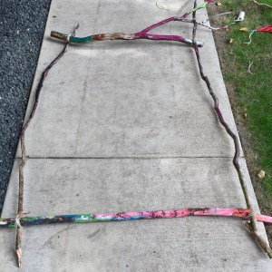 earth loom, weaving with kids, nature weaving, garden loom, nature art, branch weaving, Wee Warhols, Austin, art class,
