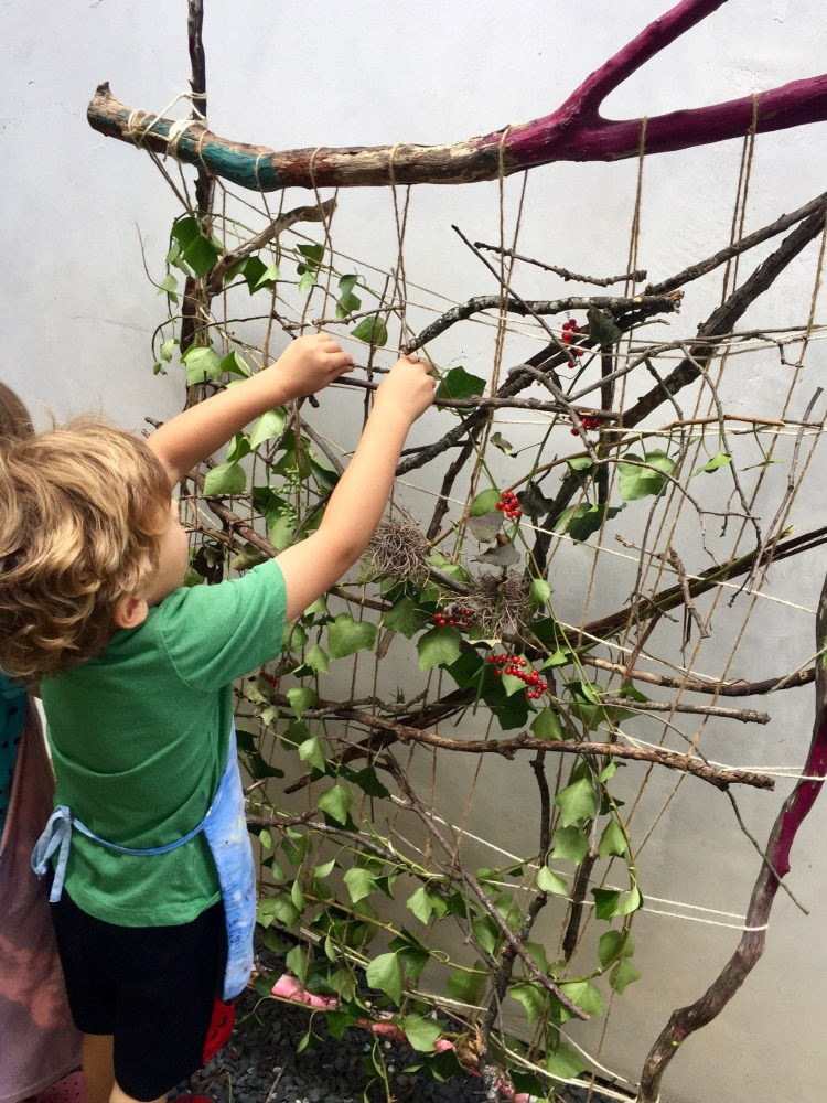 nature art, nature loom, nature weaving, branch weaving, earth loom, nature crafts, Wee Warhols, Austin, art class