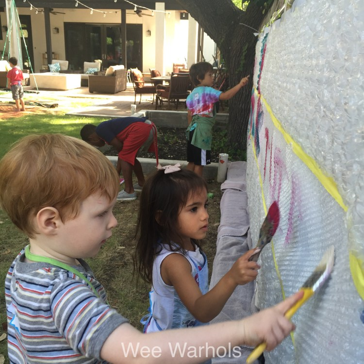 printmaking, bubble wrap, process art, action art, Wee Warhol's, art class, austin tx,