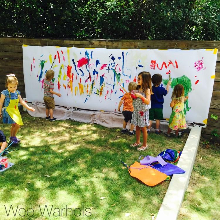 Wee Warhols, Austin, texas, bubble wrap, print making, mural, art party, process art, art class