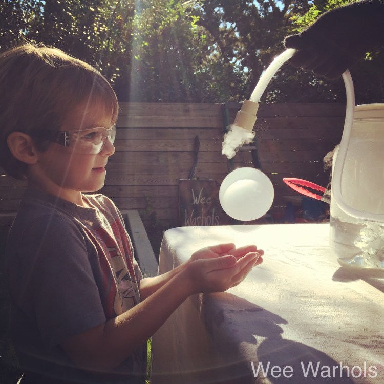 Boo Bubbles, Steve Spangler, dry ice, science, Wee Warhols, Austin, STEAM, Art Class