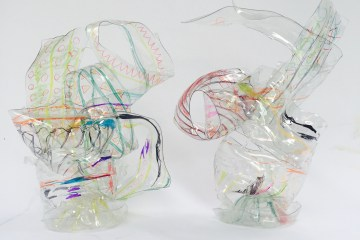 plastic bottle, abstract sculpture, kid's recycled art, kids activities, Figment Creative, Austin, TX, epicycle, kid's crafts, process art