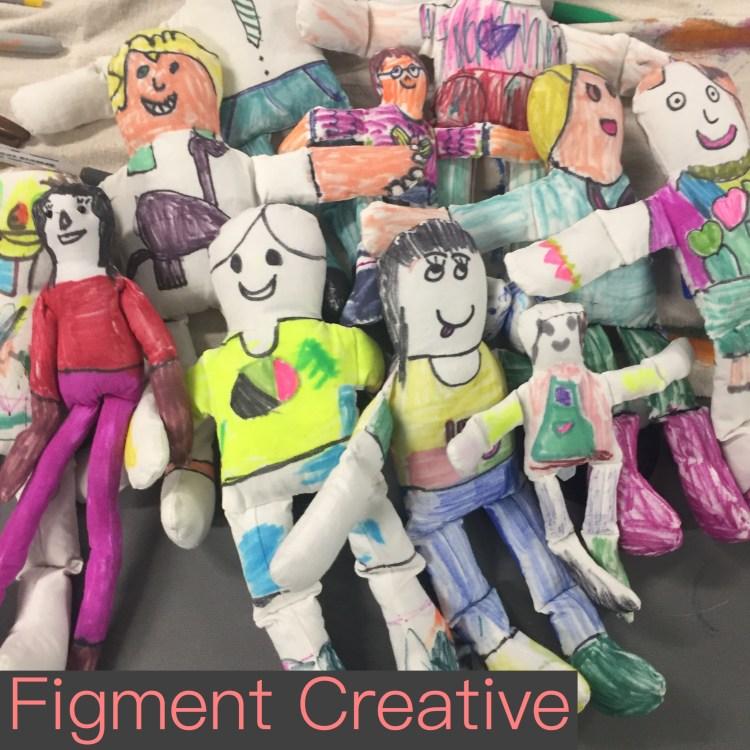 easy no sew doll craft, kids crafts, plush doll, Figment Creative Labs, Austin, TX , art class, DIY