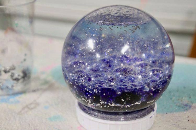 galaxy, snow globe, sensory, outer space, calm down, for kids, christmas, snow globes, holiday DIY, Figment Creative Labs, Austin TX, Science activity,