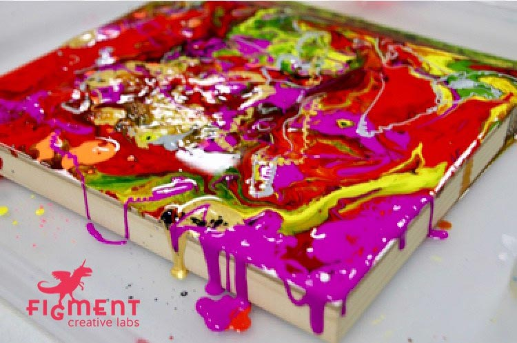 Kid's drip painting, pour painting, STEAM, art class, art, Figment Creative Labs, Austin Texas,