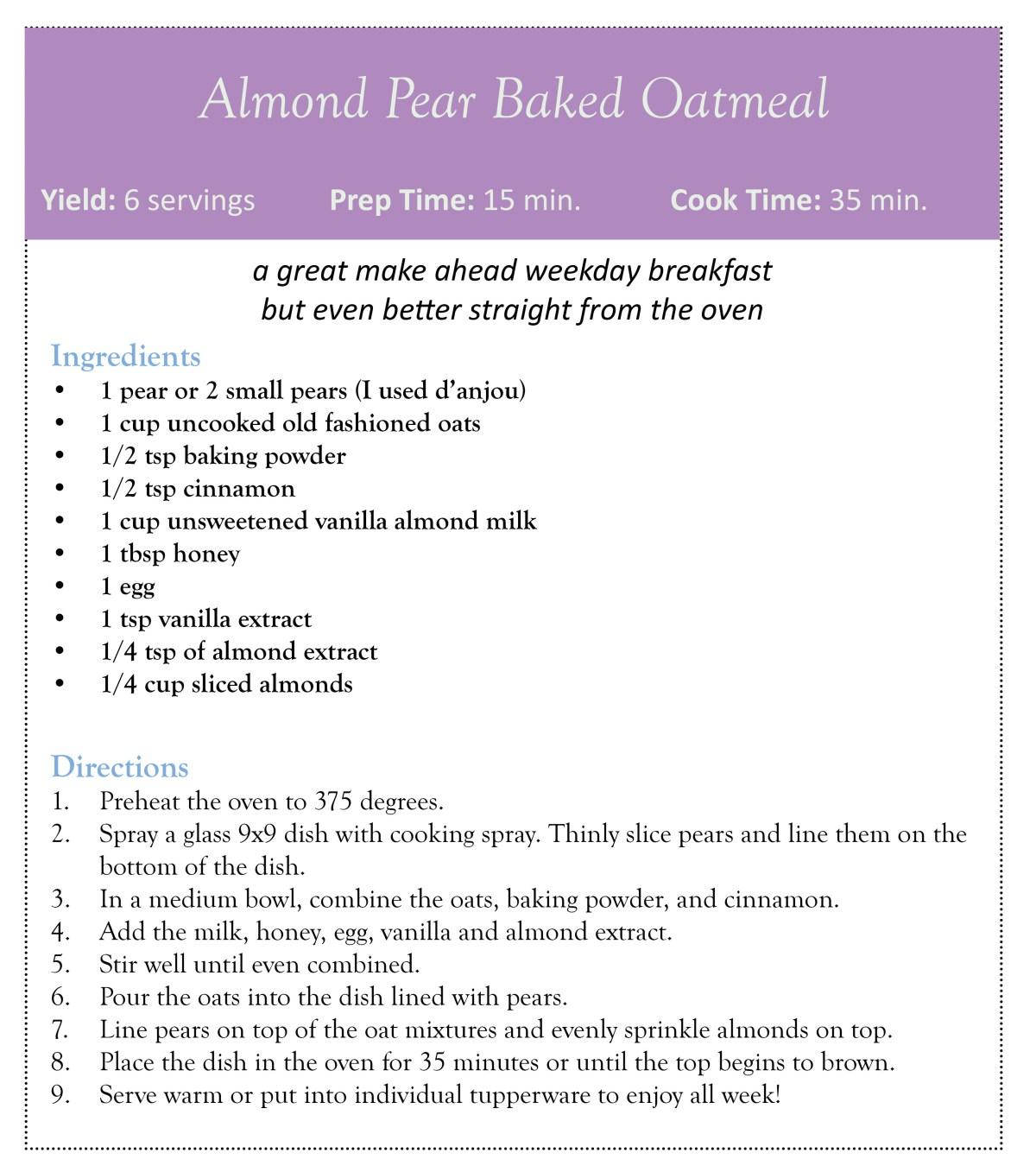 almond pear oatmeal bake