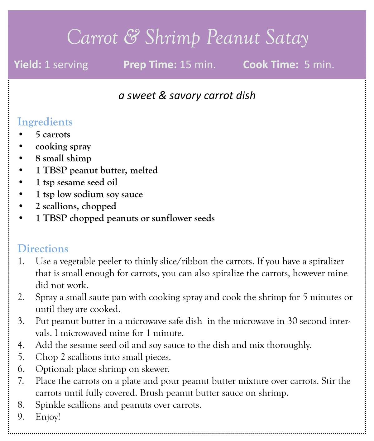 carrot & shrimp peanut satay