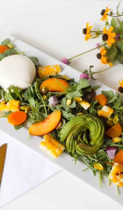 Apricot, Grilled Corn & Burrata Salad